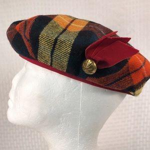 """Children's tartan plaid beret 20.5"""" gold button"""